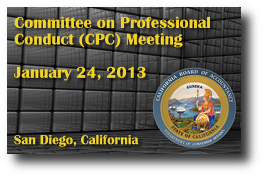 Committee on Professional Conduct (CPC) Meeting - January 24, 2013