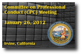 Committee on Professional Conduct (CPC) Meeting - January 26, 2012