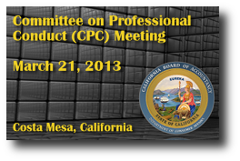 Committee on Professional Conduct (CPC) Meeting - March 21, 2013