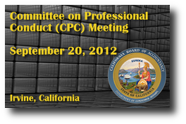 Committee on Professional Conduct (CPC) Meeting - September 20, 2012