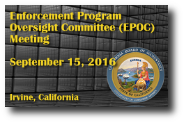 Enforcement Program Oversight Committee (EPOC) Meeting - September 15, 2016