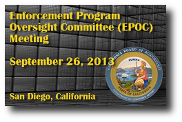 Enforcement Program Oversight Committee (EPOC) Meeting - September 26, 2013