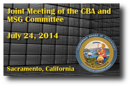Joint Meeting of the CBA and MSG Committee - July 24, 2014