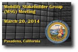 Mobility Stakeholder Group (MSG) Meeting - March 20, 2014