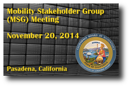 Mobility Stakeholder Group (MSG) Meeting - November 20, 2014