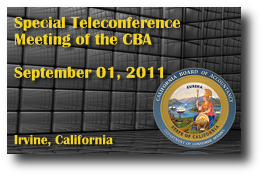 Special Teleconference Meeting of the CBA - September 01, 2011